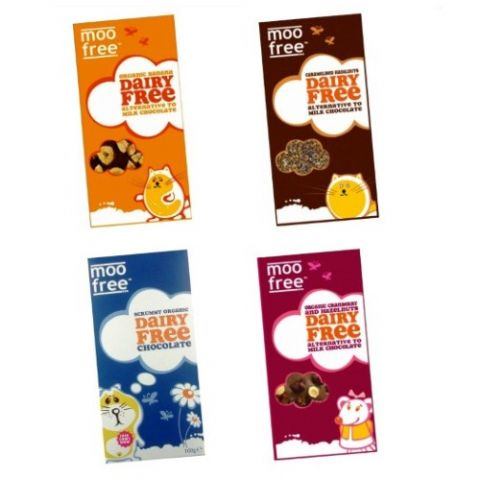 4 x Assorted Organic Dairy Free Milk Chocolate Alternative MOO FREE 100g